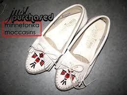 White Minnetonka moccasins