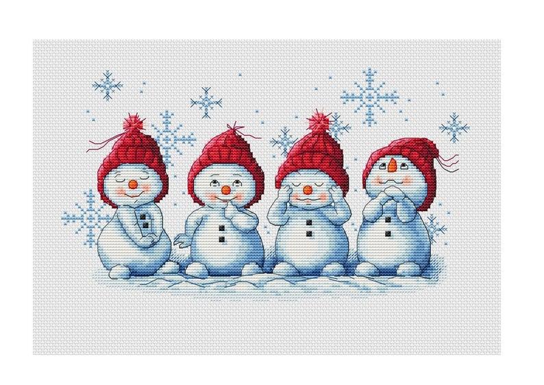 Photo of Snowman Cross Stitch Pattern PDF Instant Download Cute Cross Stitch Winter Cross Stitch Christmas Cross Stitch Snowflake Xstitch Nursery