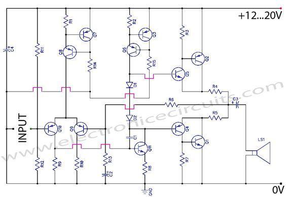 discrete class ab transistor audio power amplifier circuit diagramdiscrete class ab transistor audio power amplifier circuit diagram this is a class ab transistor power amplifier it is a simple amplifier to build,