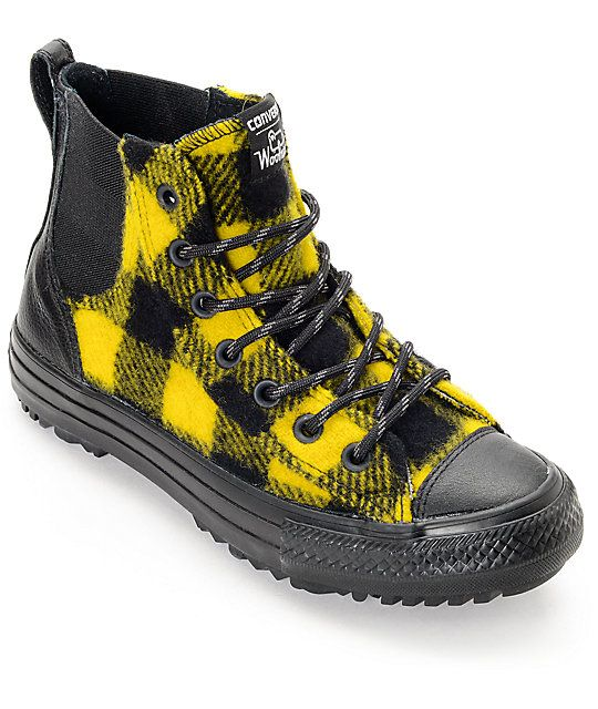 Converse x Woolrich Chelsee CTAS Hi Black & Yellow Buffalo Plaid Shoes at  Zumiez : PDP