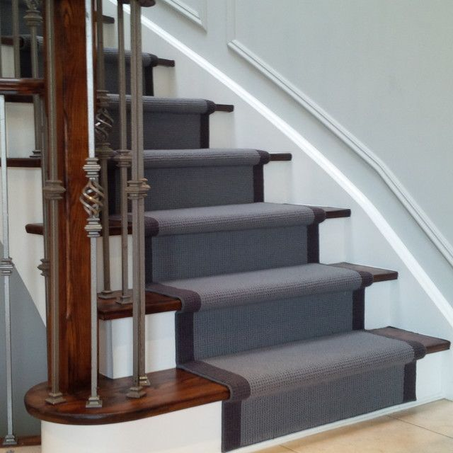 Grey Carpet Stair Runner On Dark Wood Stairs