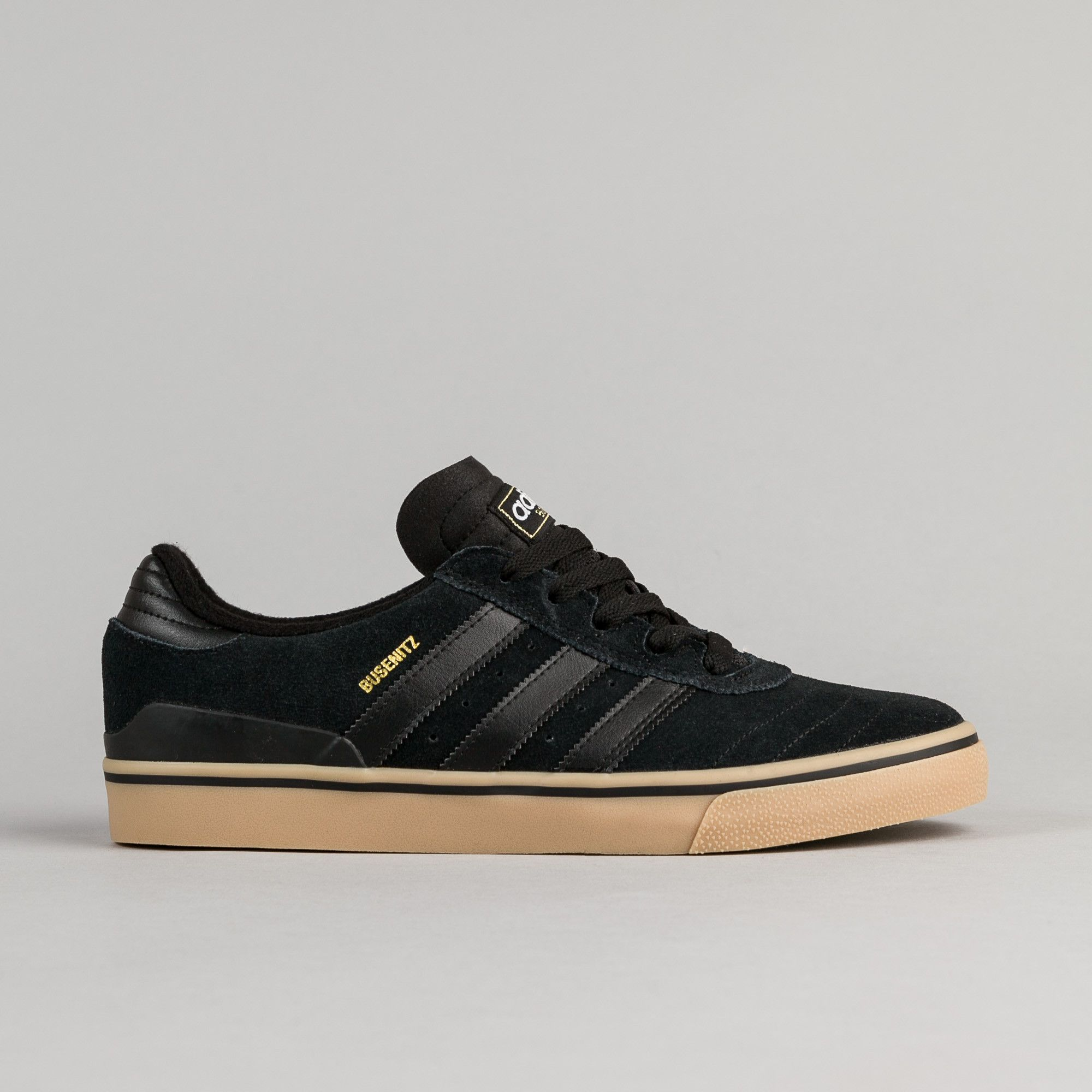 new style ac927 d180f Free Shipping  Free Returns  Shop the Adidas Busenitz Vulc ADV Shoes in  Core Black and Core Black  Gum at Flatspot, premium skateboard store since  1995.