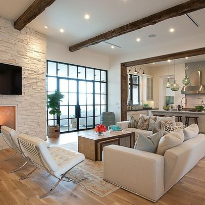Open Plan Kitchen Lounge Fireplace Design Ideas Pictures Remodel And Deco Transitional Living Room Design Transitional Living Rooms Living Room Design Modern