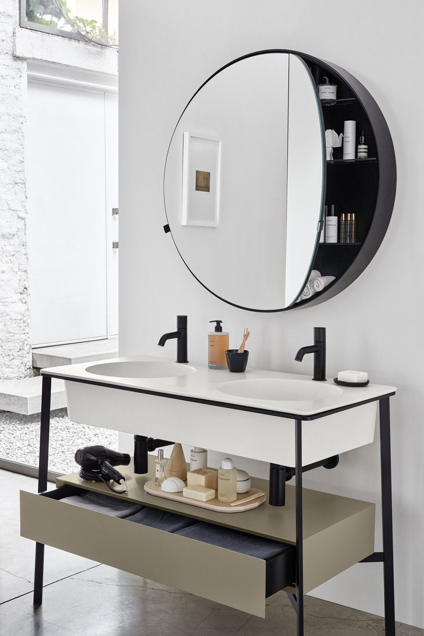 Round Wall Mounted Mirror With Cabinet I Catini Round Box By Ceramica Cielo Bathroom Interior Bathroom Mirror Cabinet Bathroom Interior Design