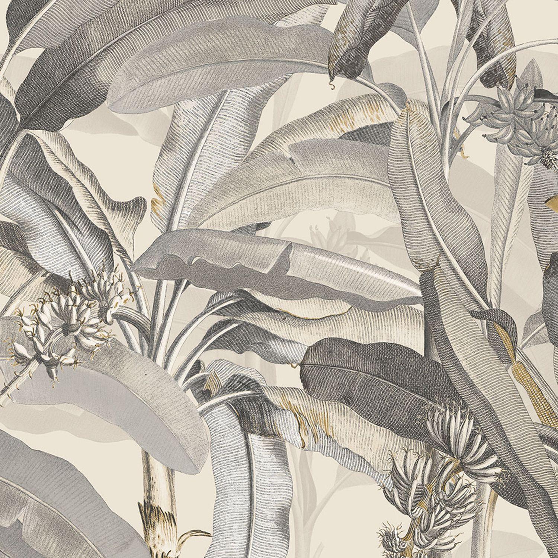 Norwall Wallcoverings Beige And Black Polynesian Leaves