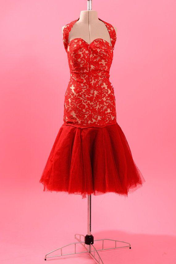 7ebd9daed332 1950's mermaid hem showgirl dress • Red lace burlesque dress • 50s ...