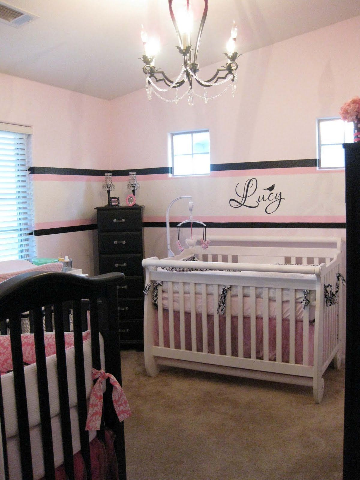 Black, Pink \u0026 White Twin Girl Nursery | Nursery, Twins and Babies