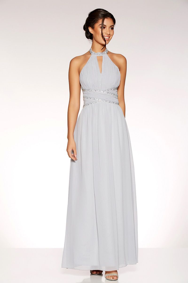 de5429cf Grey Chiffon Embellished Keyhole Maxi Dress - Quiz Clothing | Hair ...