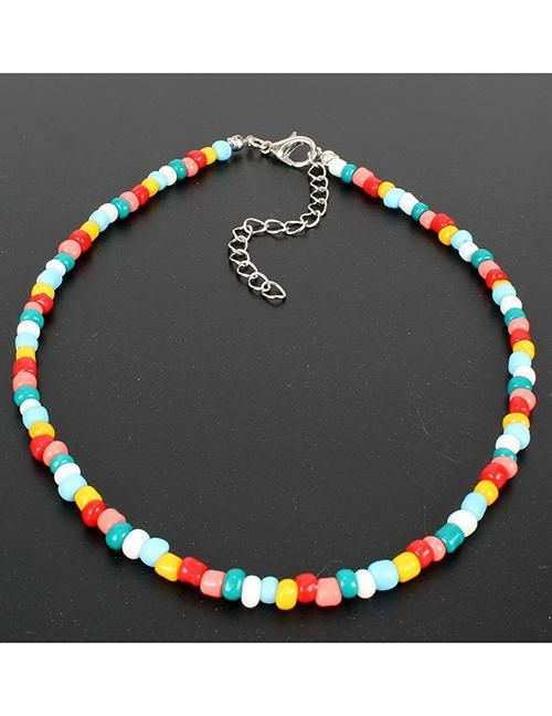N408 Multi Color Beaded Choker Necklace With Free Earrings