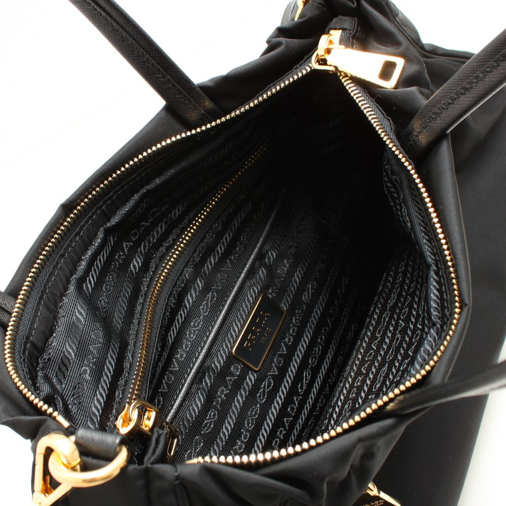 53be1b7eab8e ... promo code for prada tote cross body bag black nylon tote strap gold  943cc 484cc
