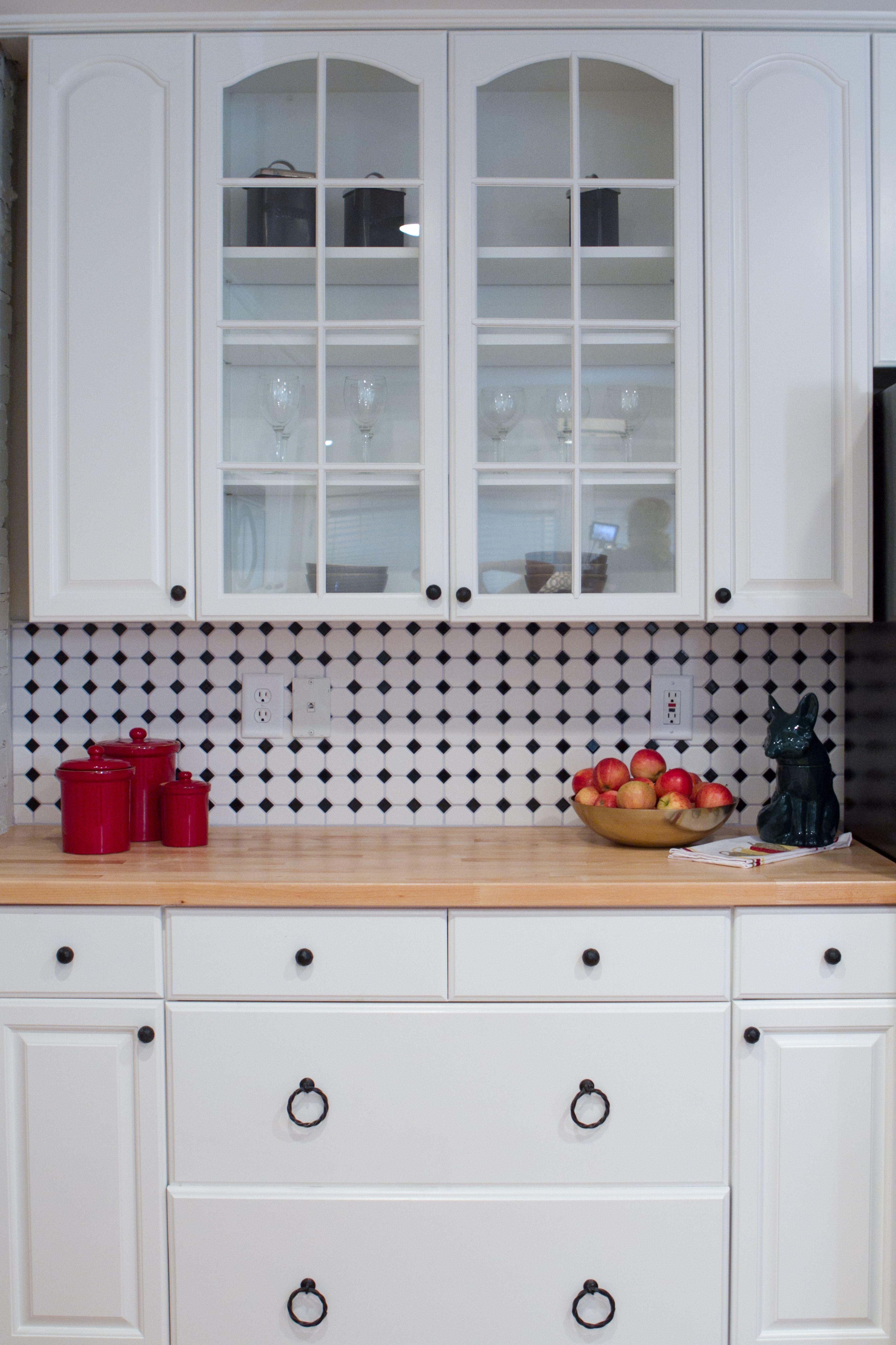 Kitchen Backsplash Tile Octagon Dot Matte White With Black