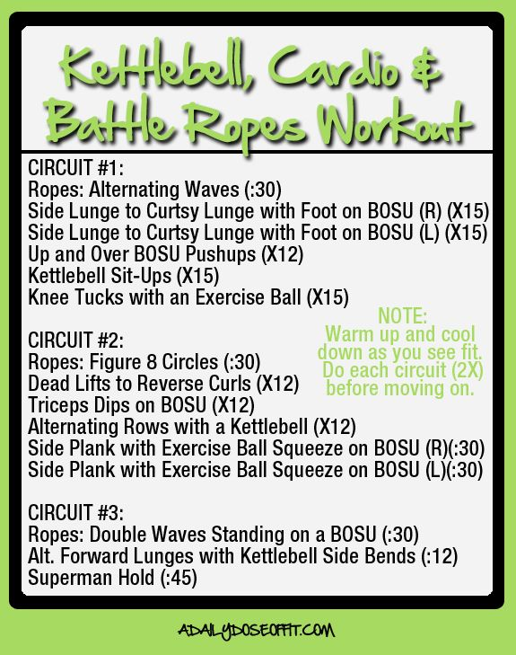 Kettlebell Cardio And Battle Rope Workout A Daily Dose Of Fit Battle Rope Workout Kettlebell Kettlebell Workout