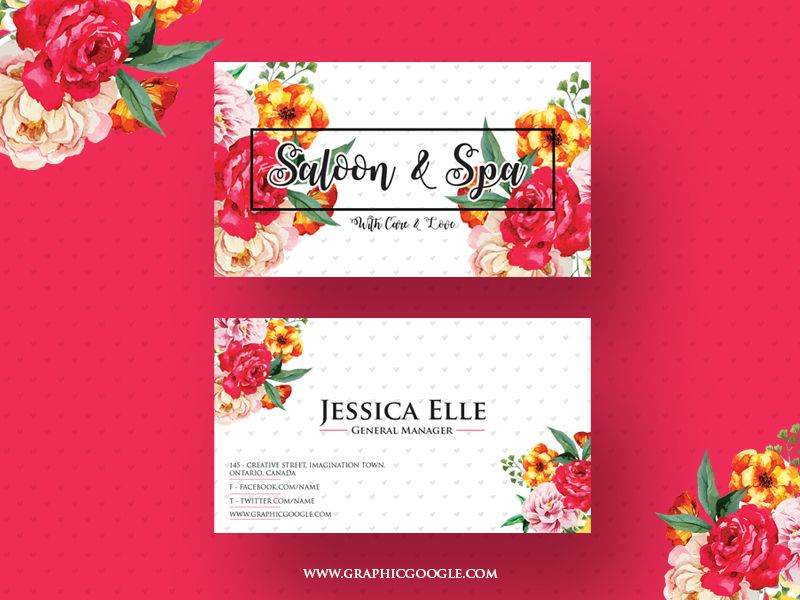 Free Saloon & Spa Business Card Design Template | Business card ...
