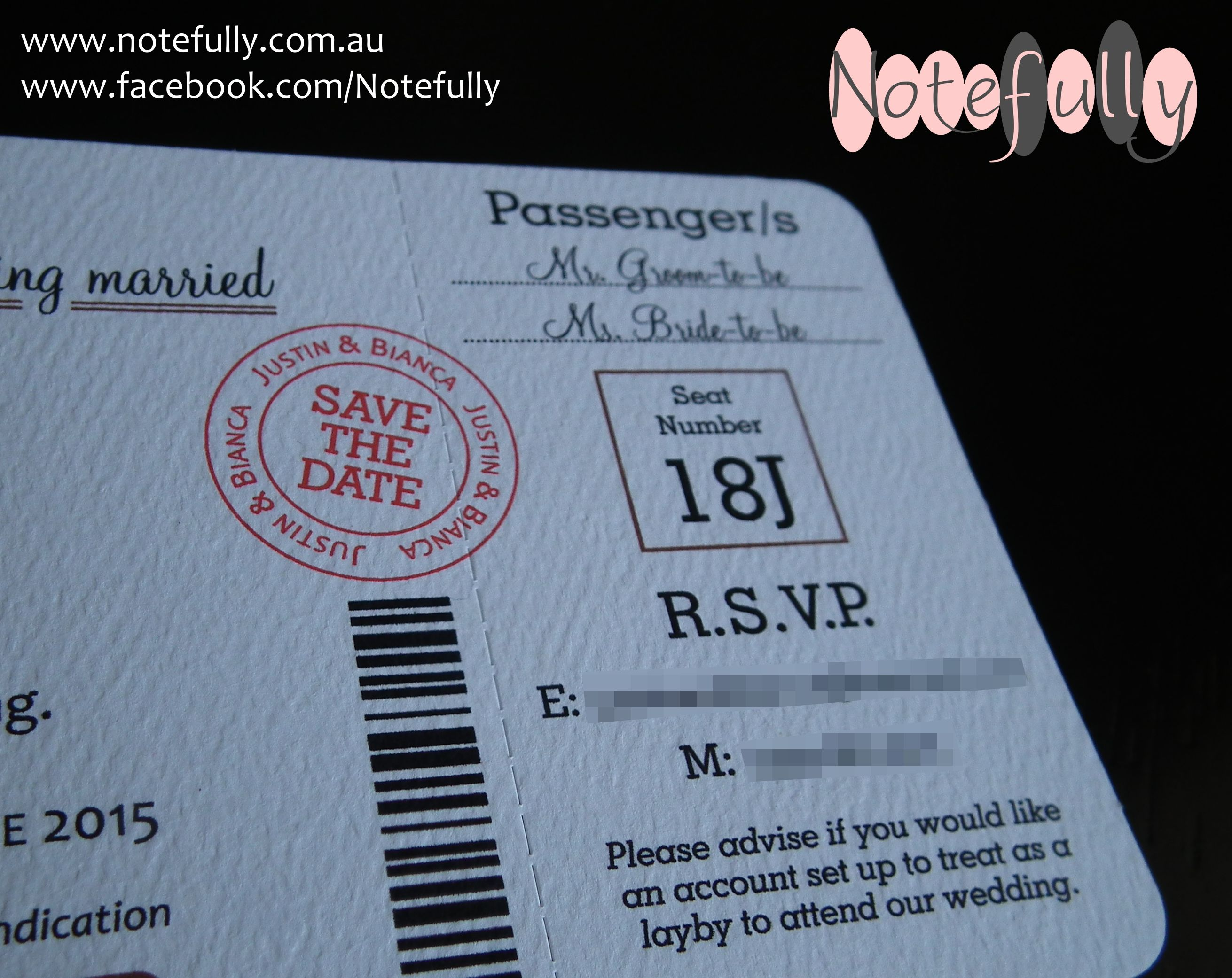 Save The Date Boarding Pass Barcode Bali Wedding Perforated