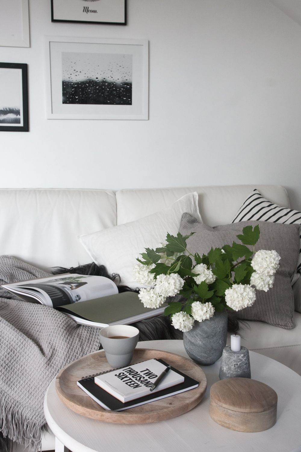 Scandinavian living room white and grey with a touch of for Gray themed living room