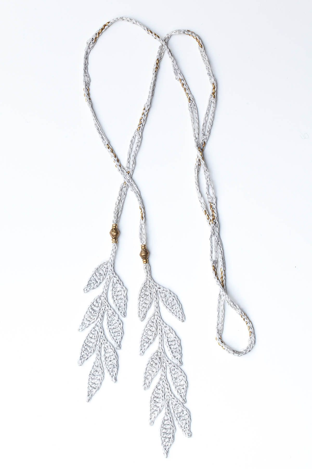 Silk Leaf Lariat Necklace With Ethiopian Silver Beads