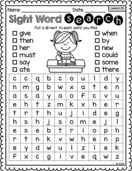 Sight Word Searches {For Use With Kindergarten Journeys