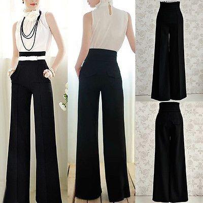 5262d7701a Suelta de Moda para Mujer OL Cintura Alta Acampanados Pierna Ancha  Pantalones Largos Pantalones Palazzo