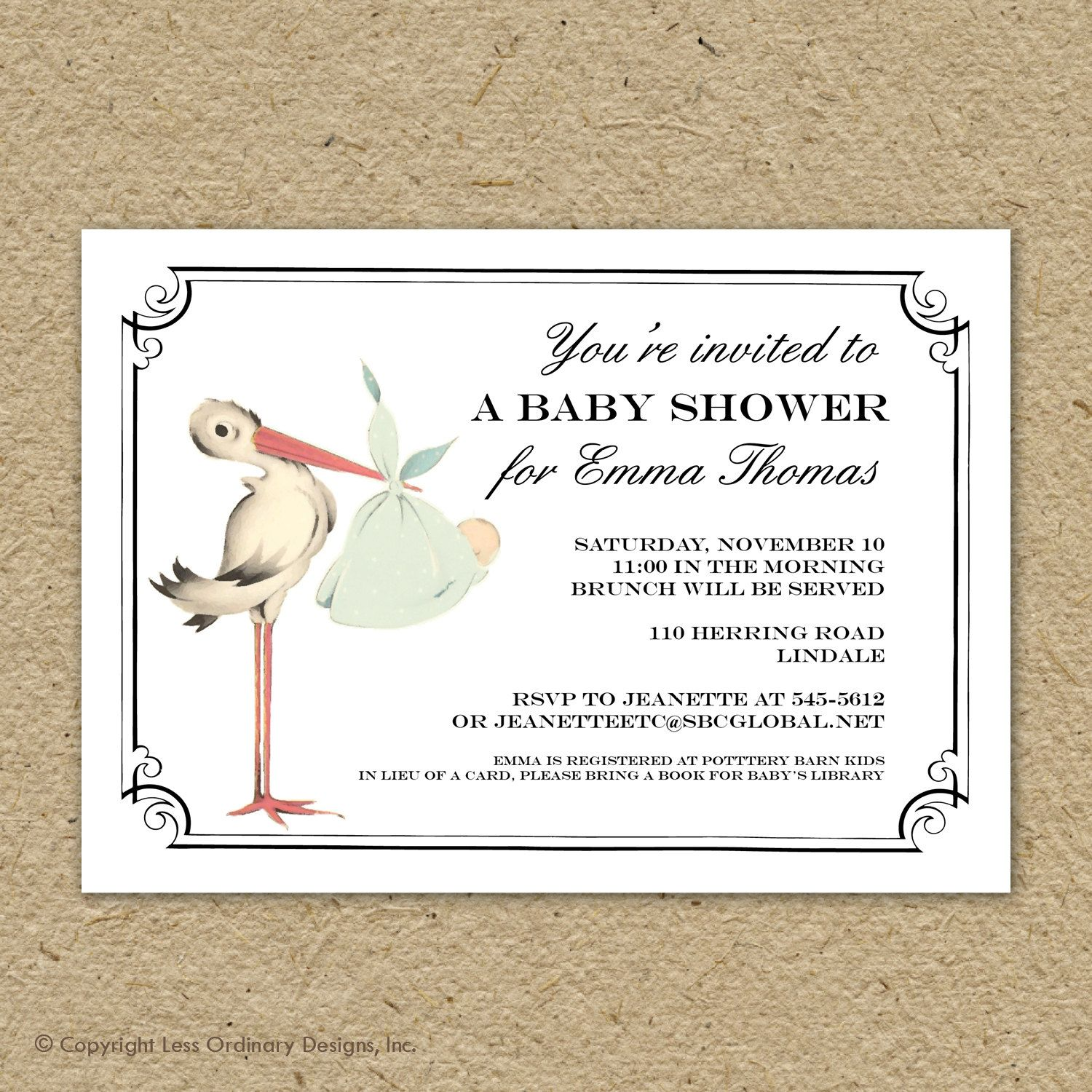 Vintage Stork Baby Shower Invitation Boy By Saralukecreative 15 00