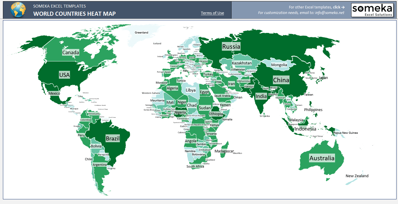 World Countries Geographic Heat Map Generator | Geographic