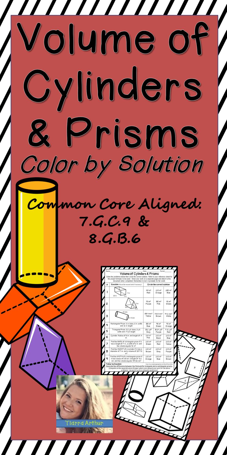 Volume of Cylinders and Prisms Worksheet | Volume ...