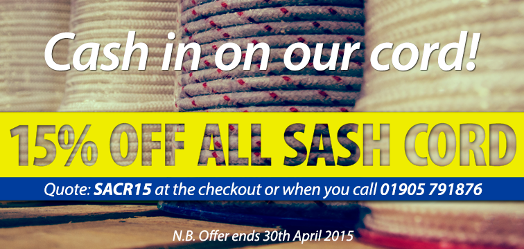 CASH IN ON OUR CORD 15% off our range until 30.04.15 http://www.reddiseals.com/product-category/sash-window/cord-and-chain/