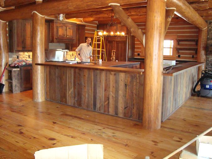Rustic homemade kitchen island ideas rustic kitchen for Wooden bar design