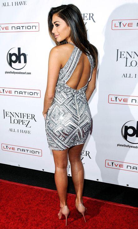 Nicole Scherzinger In A Sequined Cutout Back Mini Dress