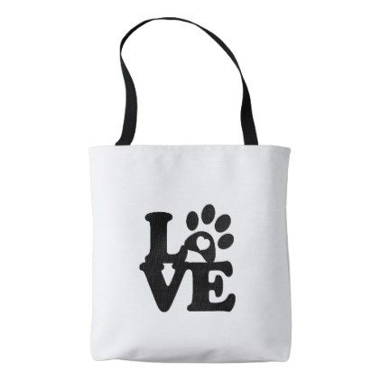 1b9c62755 All Over Print Tote Bag T-shirt Paws Print Heart - diy cyo customize create  your own personalize