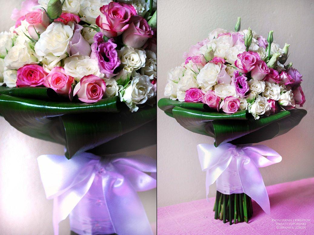 Bukiety Slubne Z Rozyczek Galazkowych I Eustomy Kwiaciarnia 7 Kwiatow Z Lublina Floral Wreath Floral Wedding