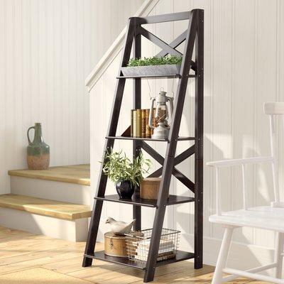 Beachcrest Home Thomaston 56 H Ladder Bookcase Wayfair Ladder Shelf Decor Shelf Decor Living Room Ladder Bookcase