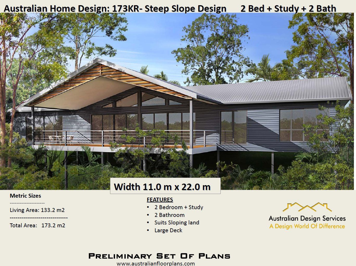 Australian 2 Bed Study 2 Bath Steep Slope House Design House Plans Australia Australian House Plans Kit Homes Australia