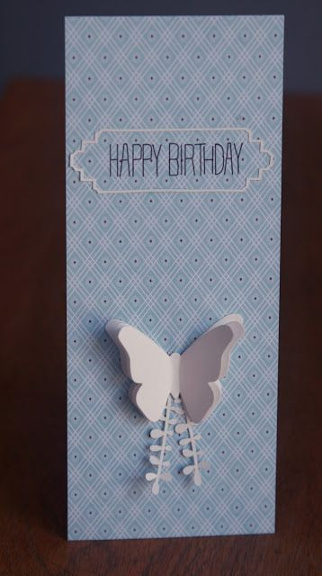 handmade birthday card from Around Paper tall and thin format - birthday cards format