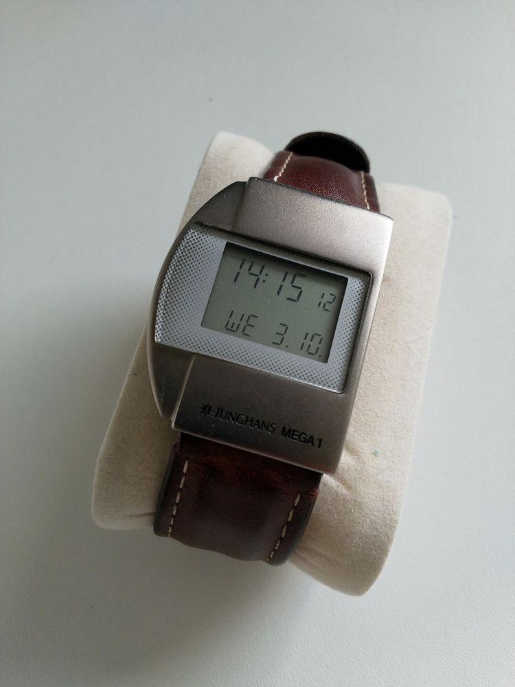 Junghans Mega 1 Herren Funk Armbanduhr Silber Lederarmband Braun Armband Leder Lederarmband Armbanduhr