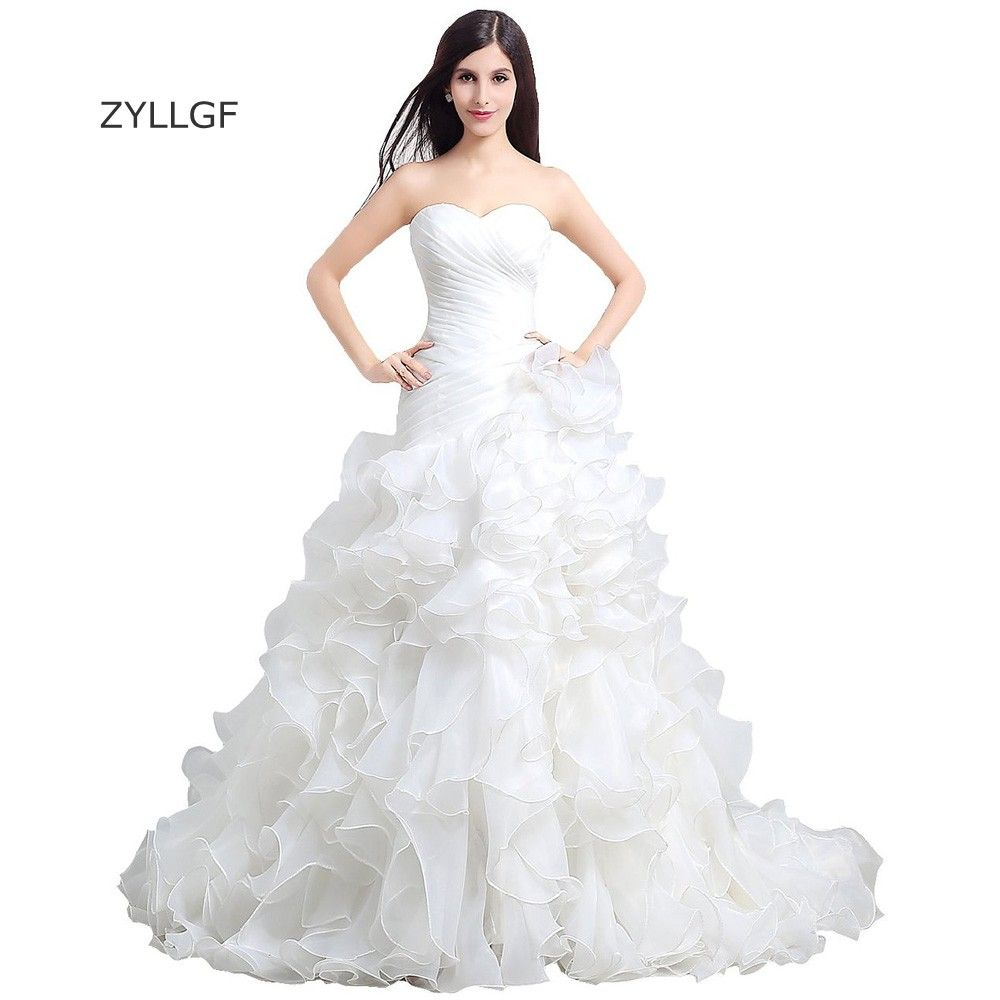 Wedding dresses ball gown sweetheart  Click to Buy ucuc ZYLLGF Ruffled Organza Wedding Dresses Ball Gown