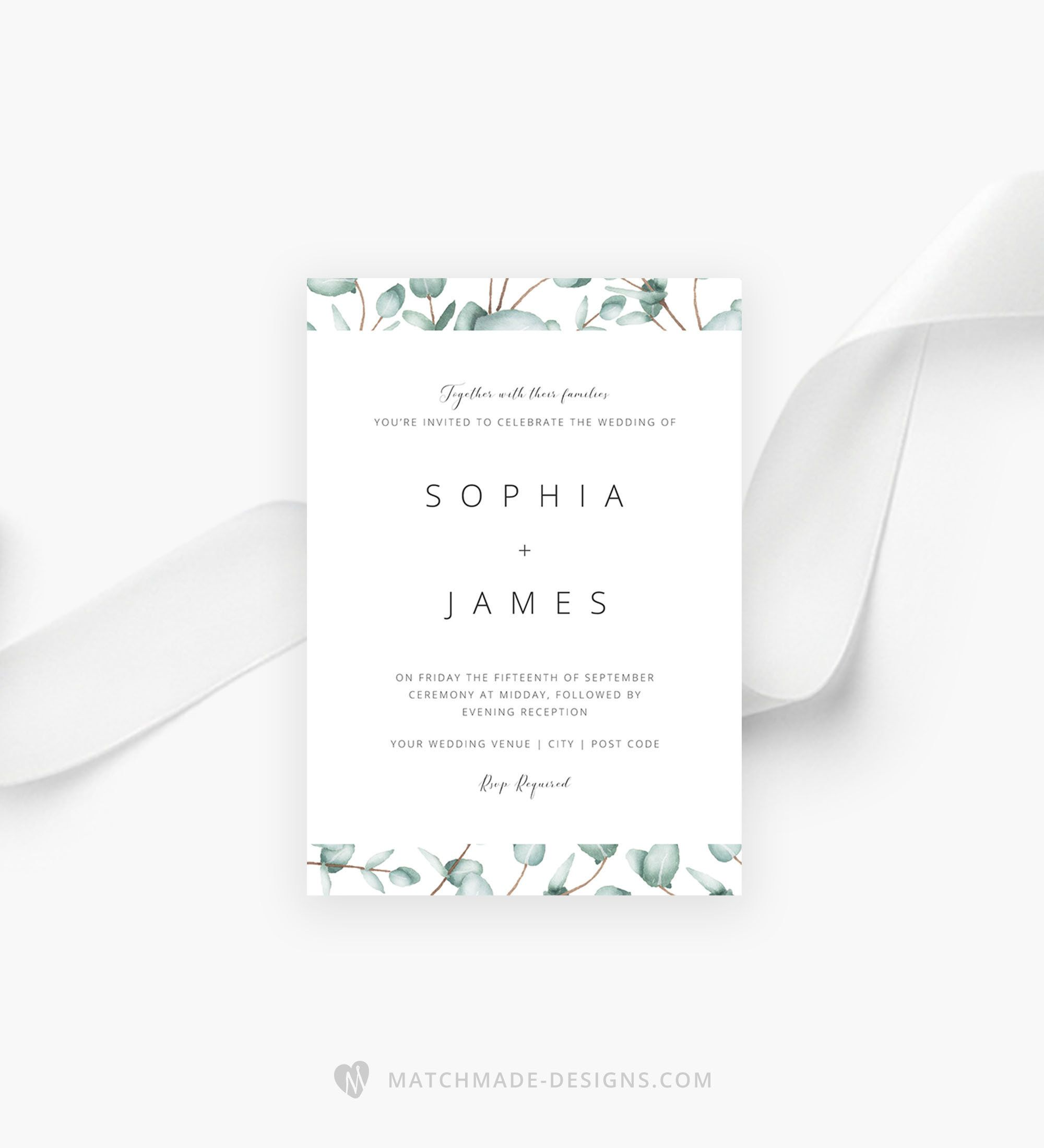 Wedding Invitation Maker Software Free Download: Eucalyptus Wedding Invitation Template Greenery Wedding