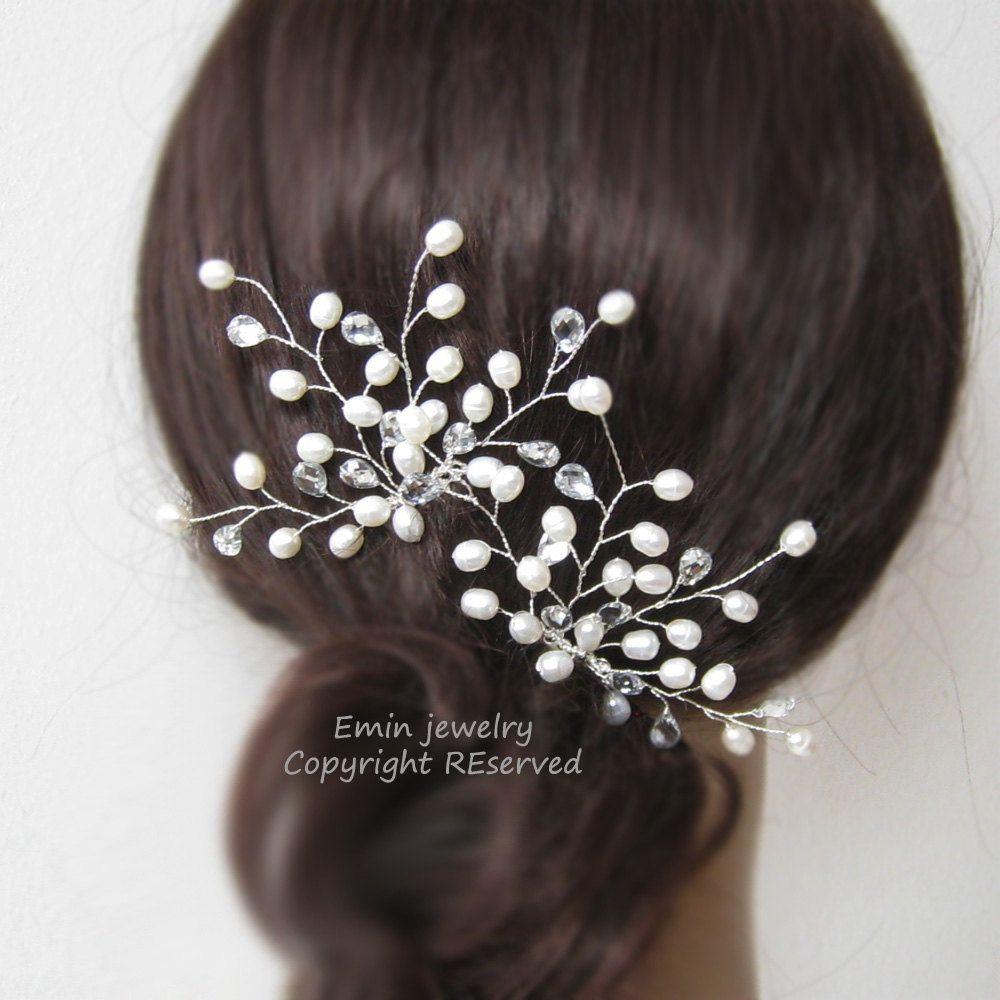 Bridal Hair Combs, H1011, Pearl and Rhinestone Bridal Comb, Wedding Hair Accessories, Bridal Hair Vine Headpiece Jewelry Fascinator