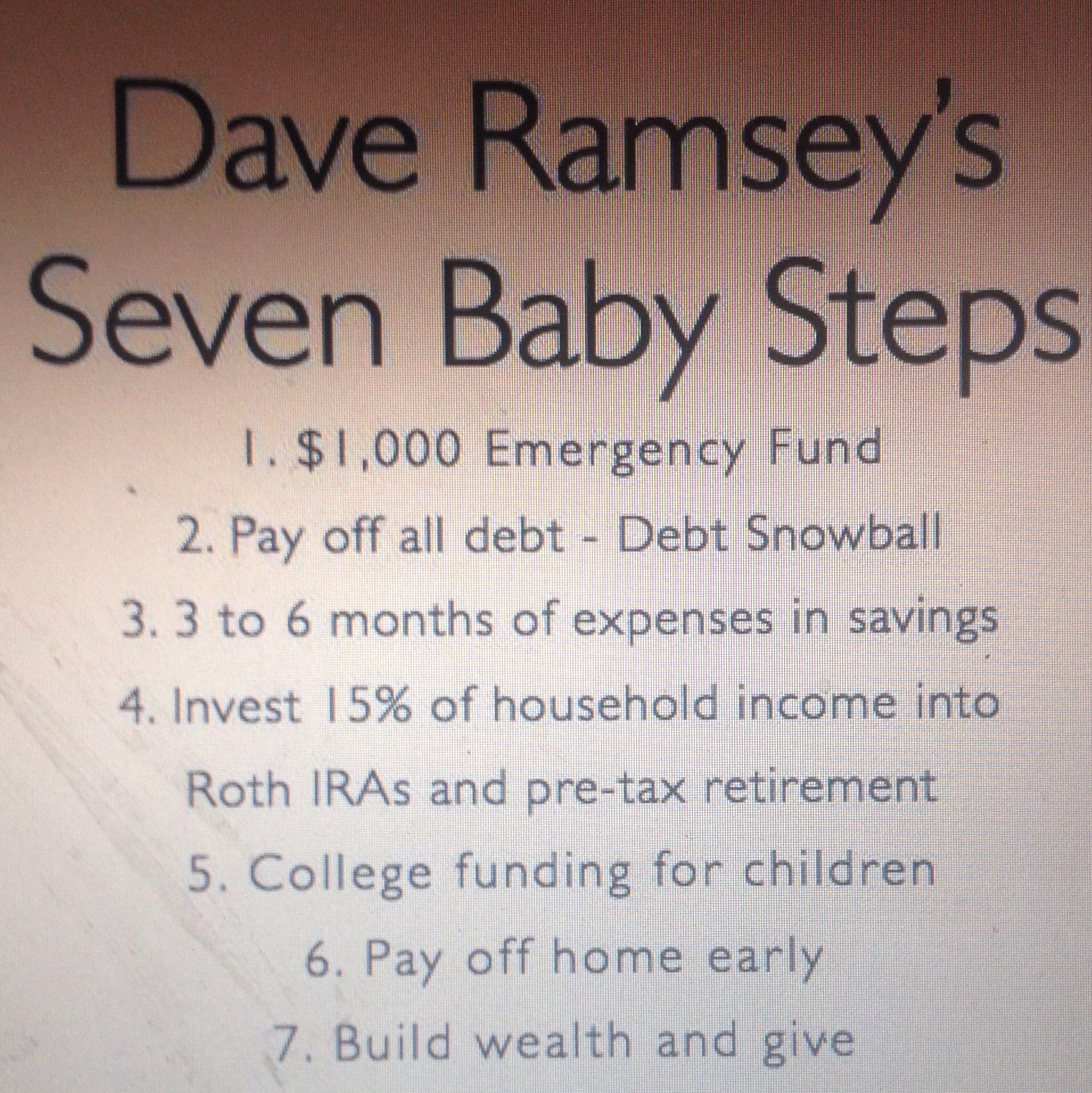 Dave Ramsey S 7 Baby Steps