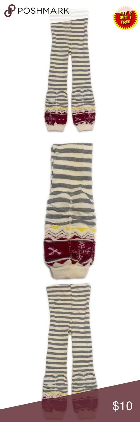 """🎈B2G1🎈NWOT Striped Gray Ruched Footless Tights NWOT cream colored, with striped gray footless tights, with ruching details on legs. Size 105cm on tag.🎈This item is eligible for the """"Buy 2 Get 1 Free"""" promotion in my closet with a minimum purchase of $15. Free items are to be of equal or lesser in value than the other items. Accessories Socks & Tights"""