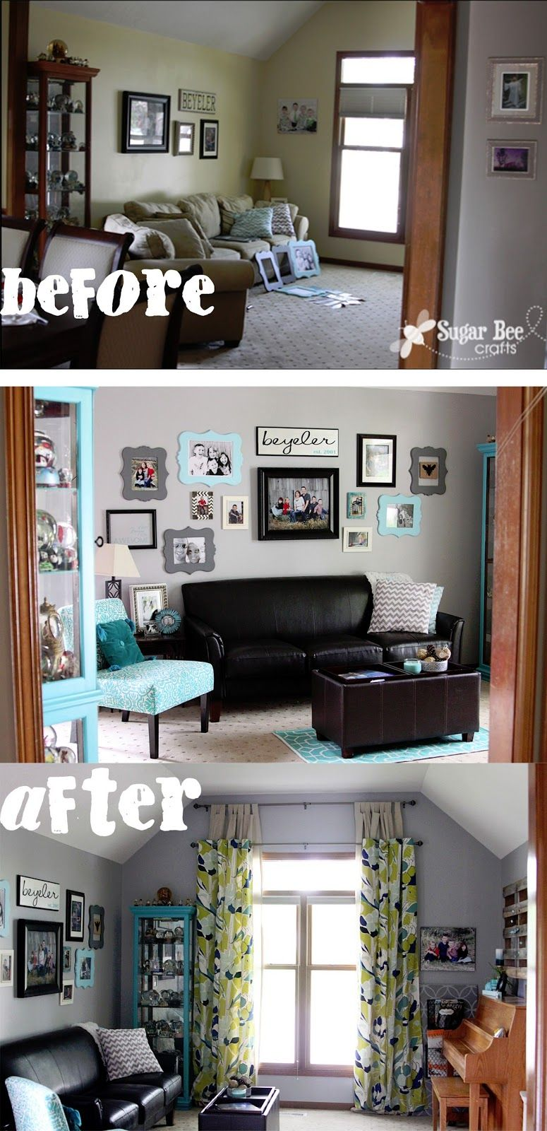 eclectic crafts room. Living Room Revamp - Aqua (turquoise) And Gray -Sugar Bee Crafts. Eclectic Crafts