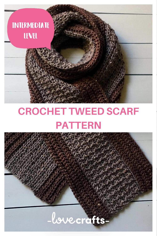 Mans Crochet Scarf Pattern Your Man Tweeds A Crocheted Scarf Crochet Pattern By Knotyourselfout In 2020 Scarf Crochet Pattern Crochet Scarf Pattern