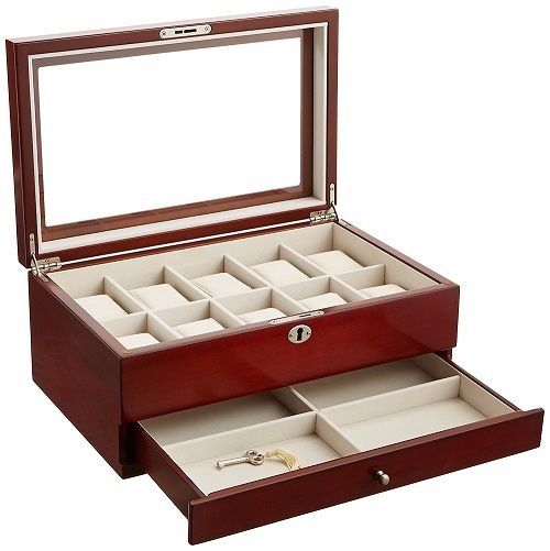 Mens Watch Storage Case Glass Top Display Lock Box Collection