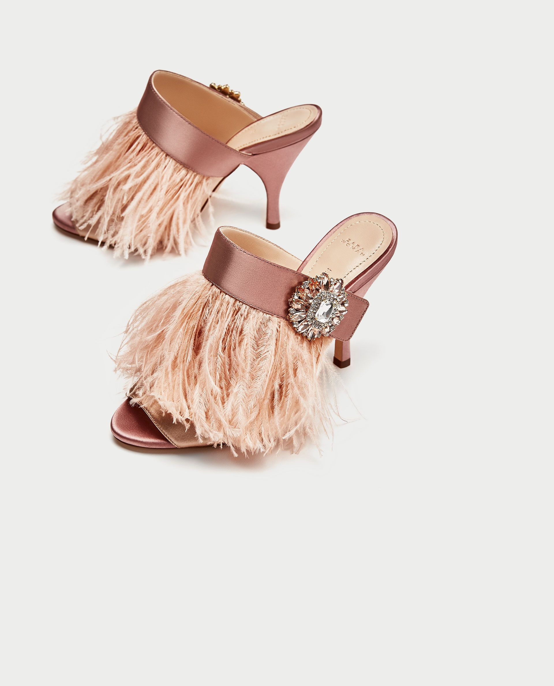 ef518327d0d HIGH HEEL MULES WITH FEATHER AND BROOCH DETAIL from Zara    under  100