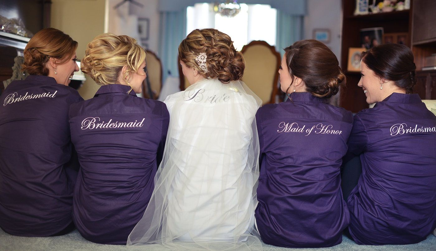 319dfc4c1a948 Wedding day bridal party shirts! button down shirts so hair and ...