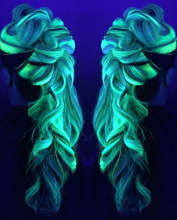 Now Your Rainbow Hair Can Glow In The Dark Under Black Light
