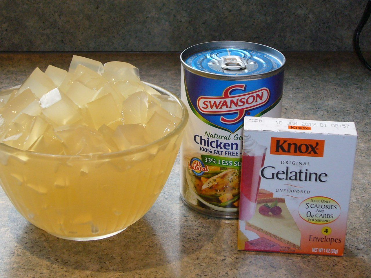 1 cup cold low sodium chicken broth 4 packages of Knox