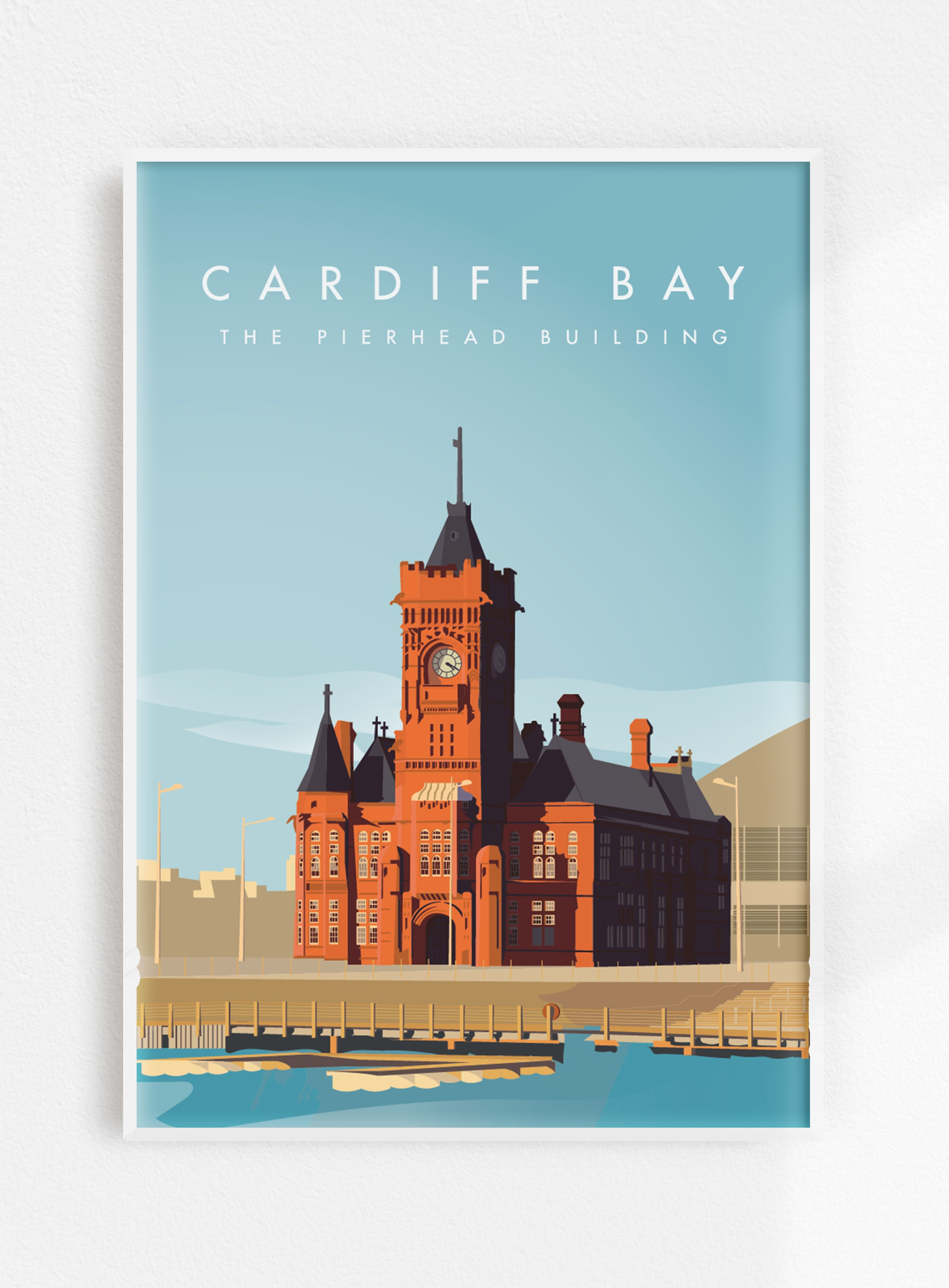 Cardiff Bay Wales The Pierhead Building Vintage Travel Poster A3 Print Original Artwork Illustration Wall Art In 2020 Travel Posters Cardiff Bay Vintage Travel Posters