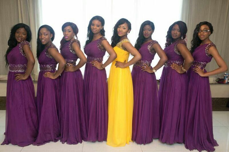 Purple And Yellow Nigerian Bridesmaids Dresses For Wedding With