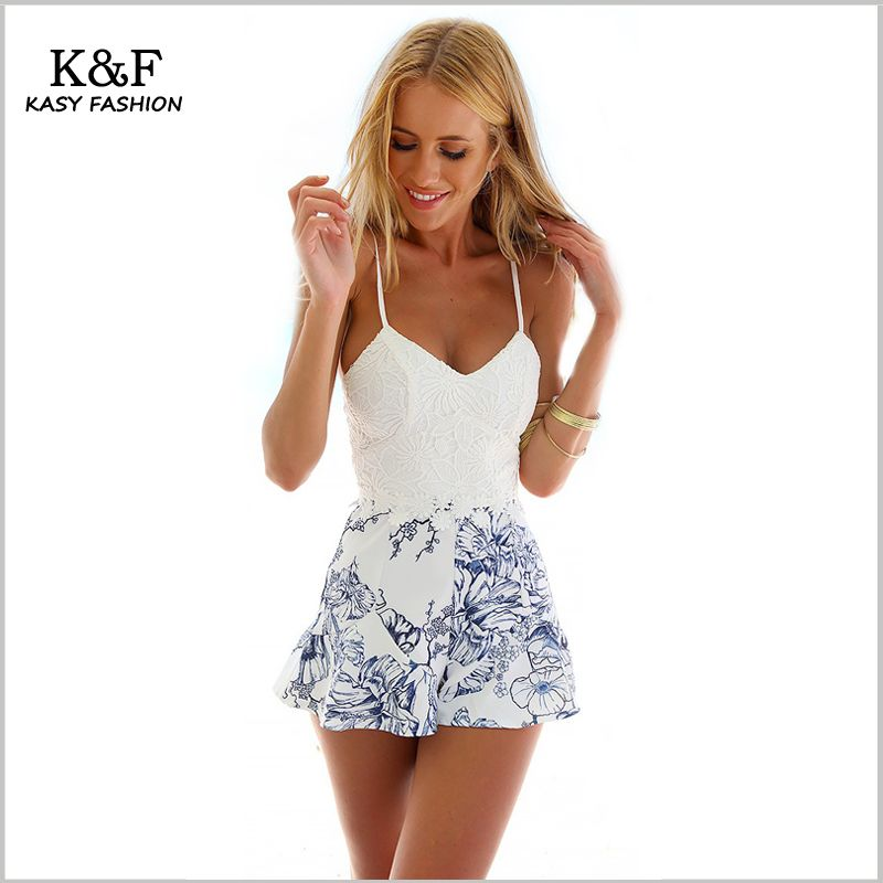 5066088201b Summer Women Backless Short Jumpsuit Rompers Spaghetti Strap Playsuit Deep  V neck Bodysuit White Lace Floral Prints Rompers  Affiliate