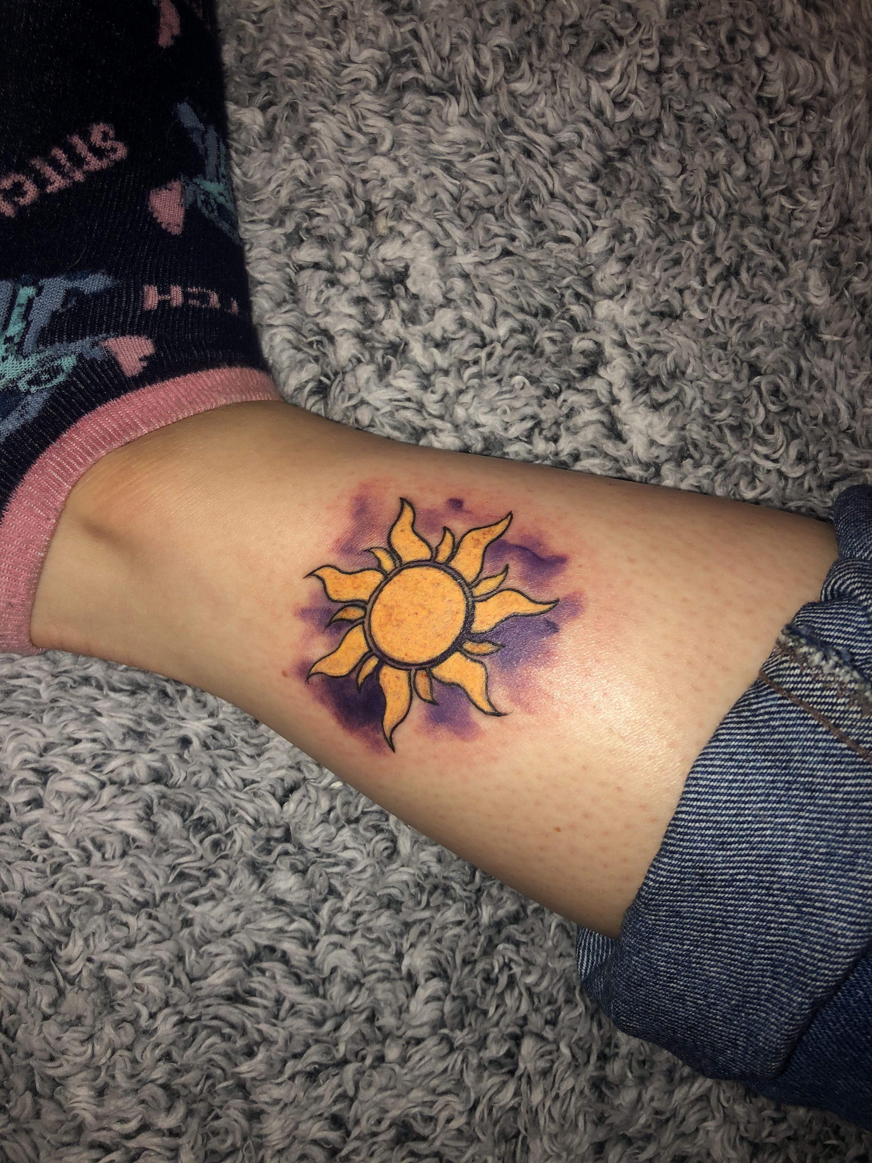 Tangled Sun Watercolour Tattoo In 2020 Tangled Tattoo Tattoos Disney Tangled Tattoo